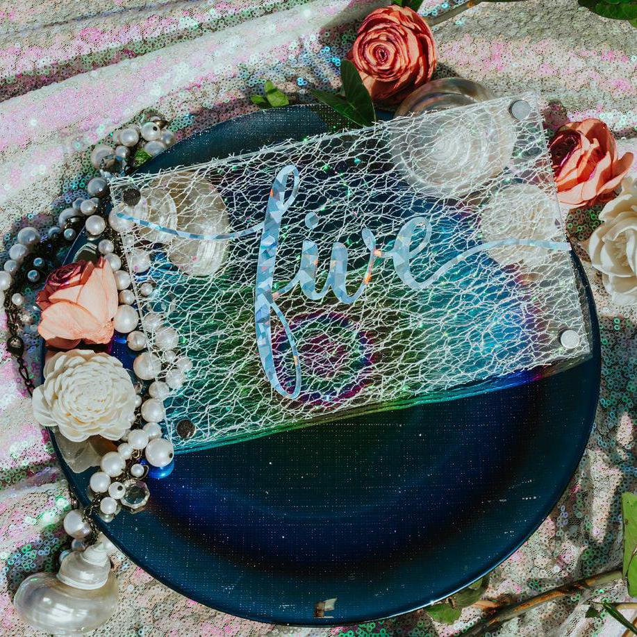 delicate invitation with five in holo