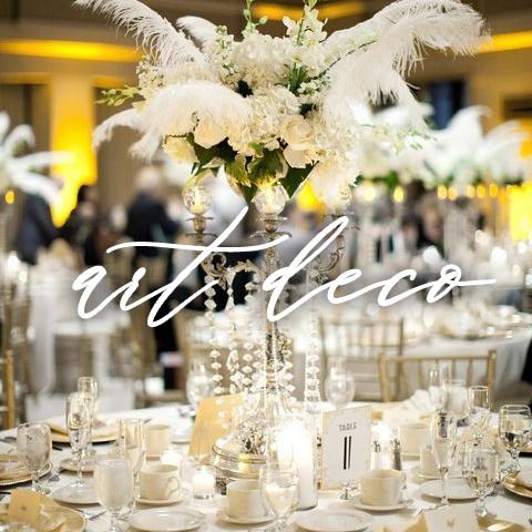 artdeco white centerpiece and table setting