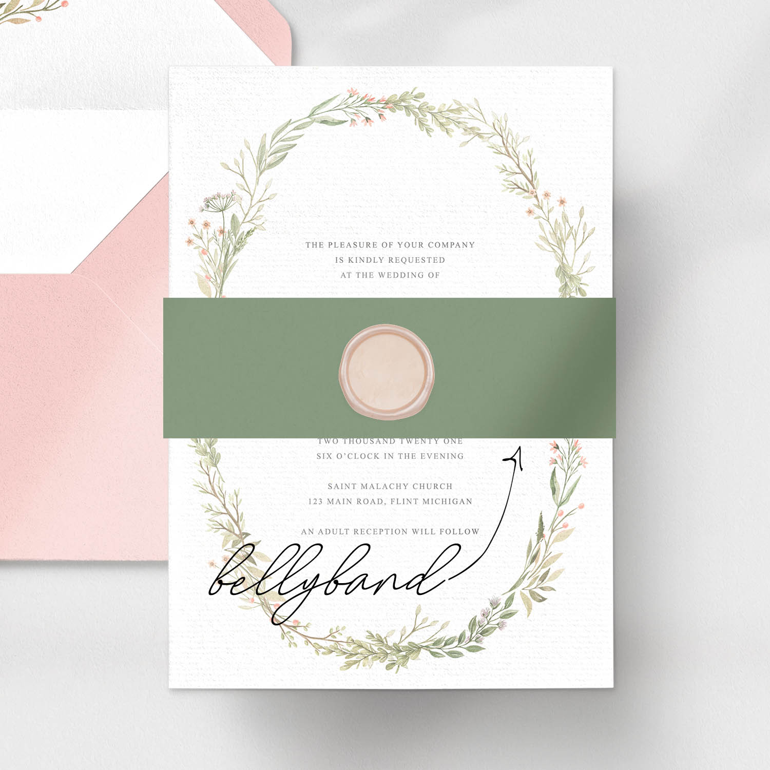 invitation card with bellyband