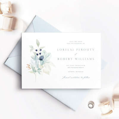 light blue and white save the date card with blue flowers