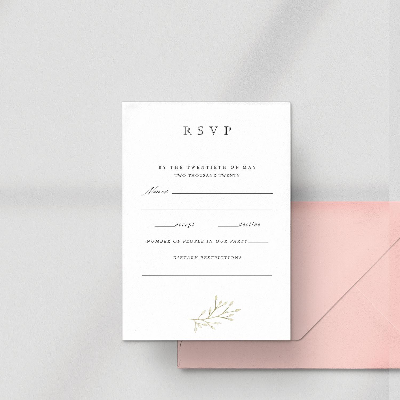 RSVP invitation with pink envelope