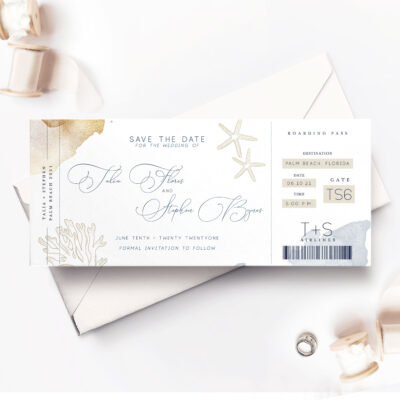 Seychelles save the date card with envelope and ribbons