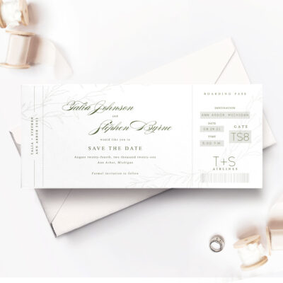 white rsvp card with envelope