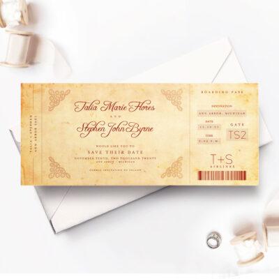 vintage ticket-style wedding invitation