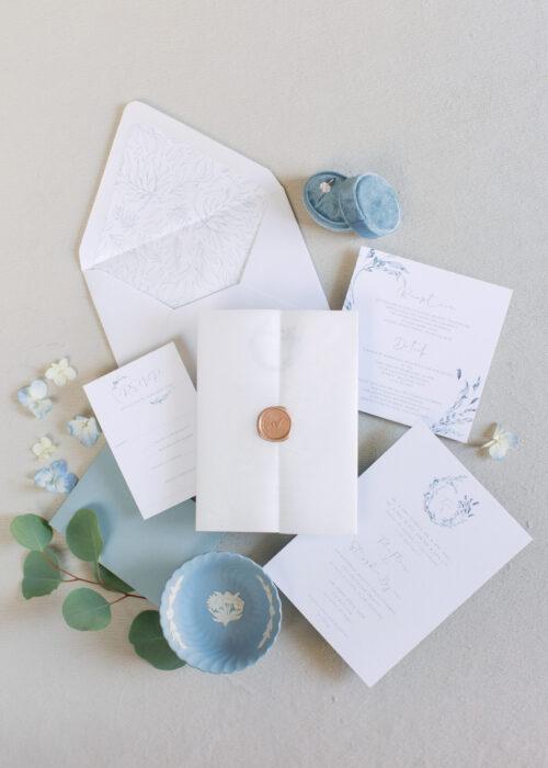 Blue Vellum wedding invitations, delicate wedding invites palce blue and white, spring invitations for wedding