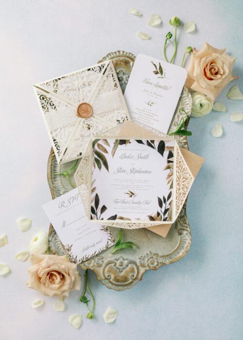 laser cut wedding invitations, rustic wedding invites with greenery detail